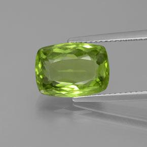 Lively Green Peridot Gem - 5.3ct Cushion-Cut (ID: 372074)