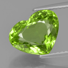 Lively Green Peridot Gem - 4.1ct Heart Facet (ID: 375755)