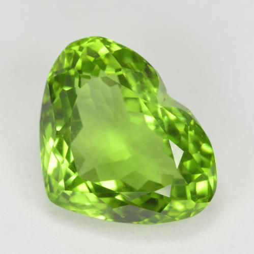 Lively Green Peridot Gem - 5.7ct Heart Facet (ID: 379026)