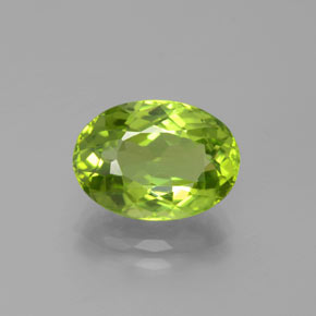4.90 ct Oval Facet Lively Green Peridot Gemstone 12.22 mm x 8.8 mm (Product ID: 379053)
