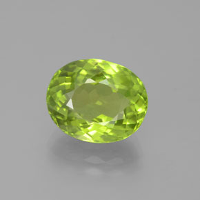 5.56 ct Oval Portuguese-Cut Lively Green Peridot Gemstone 11.79 mm x 9.6 mm (Product ID: 379058)