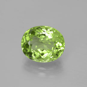 5.07 ct Oval Portuguese-Cut Lively Green Peridot Gemstone 11.64 mm x 9.7 mm (Product ID: 379281)