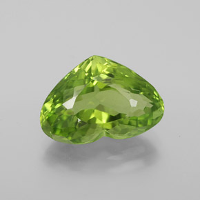 6.28 ct Heart Facet Lively Green Peridot Gemstone 14.20 mm x 9.9 mm (Product ID: 379373)