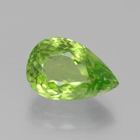 Lively Green Peridot Gem - 5.1ct Pear Facet (ID: 382363)