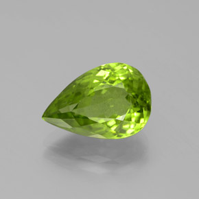 Lively Green Peridot Gem - 4.9ct Pear Facet (ID: 382480)