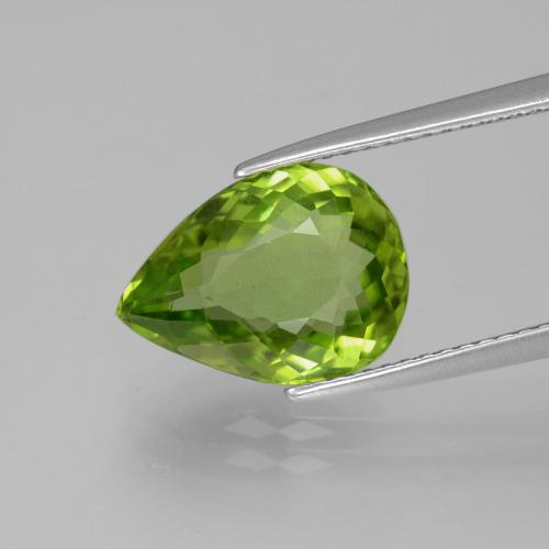 4.4ct Pear Facet Lively Green Peridot Gem (ID: 382482)
