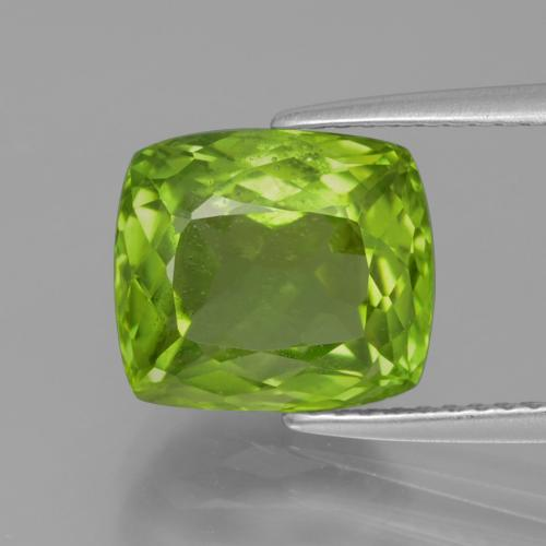 Lively Green Peridot Gem - 4.9ct Cushion-Cut (ID: 398230)