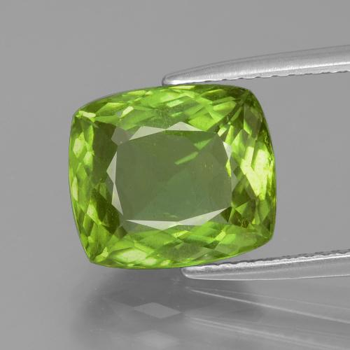 Lively Green Peridot Gem - 4.9ct Cushion-Cut (ID: 398233)