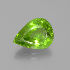 6.10 ct Pear Facet Lively Green Peridot Gemstone 13.87 mm x 10.5 mm (Product ID: 399112)