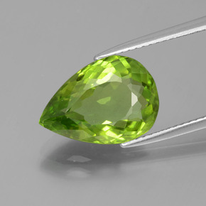 5.3ct Pear Facet Lively Green Peridot Gem (ID: 399115)