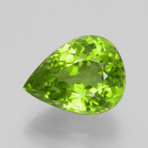 6.53 ct Pear Facet Lively Green Peridot Gemstone 13.09 mm x 9.9 mm (Product ID: 399196)