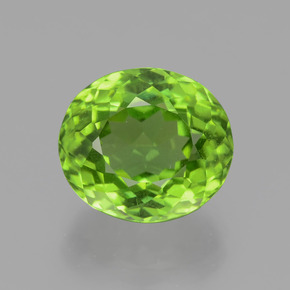 5.49 ct Oval Portuguese-Cut Lively Green Peridot Gemstone 10.73 mm x 9.4 mm (Product ID: 399253)