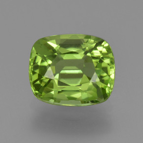 1.96 ct Cushion-Cut Lively Green Peridot Gemstone 8.29 mm x 7 mm (Product ID: 426128)