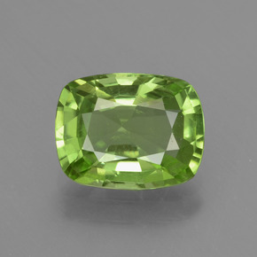 2.23 ct Cushion-Cut Lively Green Peridot Gemstone 9.39 mm x 7.3 mm (Product ID: 437789)