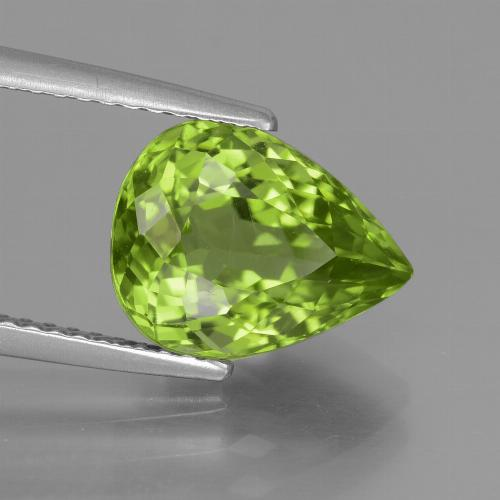 Lively Green Peridot Gem - 4ct Pear Facet (ID: 442936)