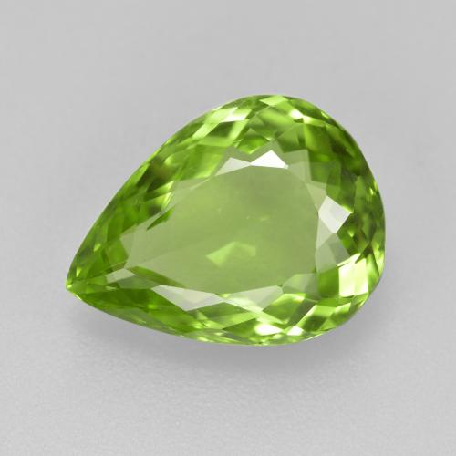 4.1ct Pear Facet Lively Green Peridot Gem (ID: 442937)