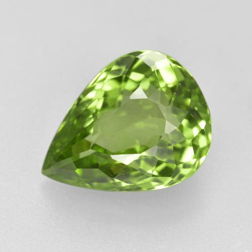 Lively Green Peridot Gem - 4.2ct Pear Facet (ID: 442940)