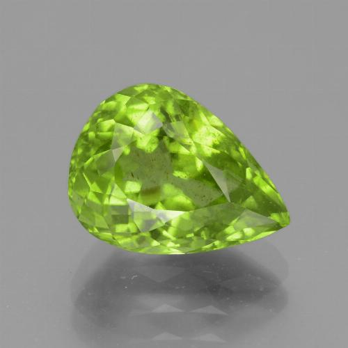 Medium Green Peridot Gem - 4.5ct Pear Facet (ID: 442942)