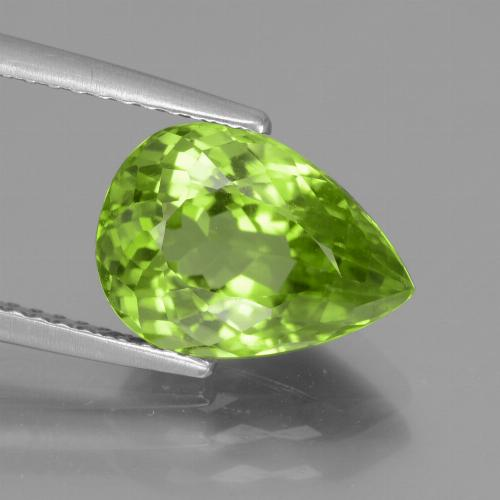 4.1ct Pear Facet Lively Green Peridot Gem (ID: 442945)