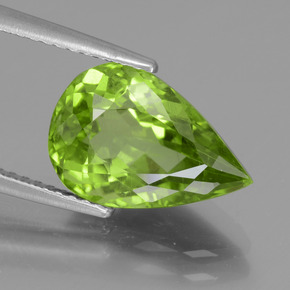 Lively Green Peridot Gem - 4.5ct Pear Facet (ID: 442946)