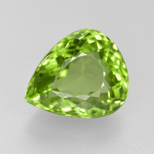 Lively Green Peridot Gem - 4.5ct Pear Facet (ID: 442947)