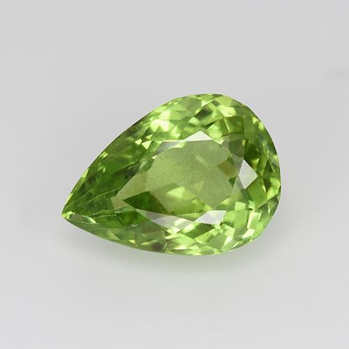 Lively Green Peridot Gem - 3.2ct Pear Facet (ID: 443106)
