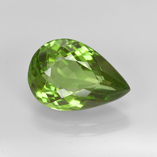 Lively Green Peridot Gem - 3.4ct Pear Facet (ID: 443110)