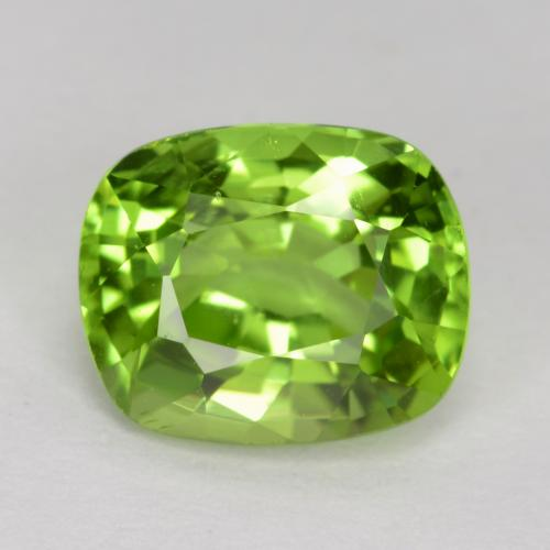 Lively Green Peridot Gem - 2ct Cushion-Cut (ID: 447087)
