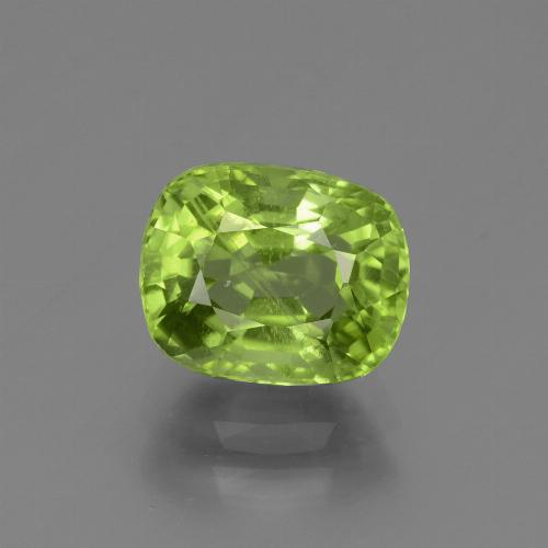 Yellowish Green Peridot Gem - 2.4ct Cushion-Cut (ID: 447514)