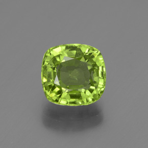 Medium Green Peridot Gem - 2.1ct Cushion-Cut (ID: 447515)