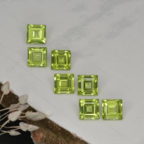 Lively Green Peridot Gem - 0.4ct Square Step-Cut (ID: 468324)