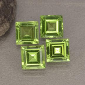 Lively Green Peridot Gem - 0.7ct Square Step-Cut (ID: 473536)