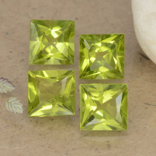 Lively Green Peridot Gem - 0.8ct Princess-Cut (ID: 473692)