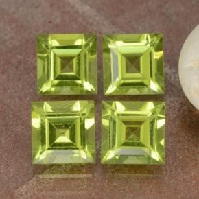 Lively Green Peridot Gem - 0.7ct Square Step-Cut (ID: 473764)