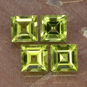 Lively Green Peridot Gem - 0.7ct Square Step-Cut (ID: 473765)