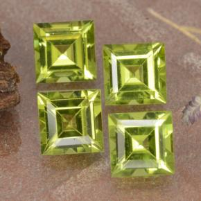 Lively Green Peridot Gem - 0.7ct Square Step-Cut (ID: 473767)
