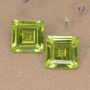 Lively Green Peridot Gem - 1.1ct Square Step-Cut (ID: 477603)