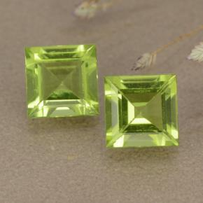 Lively Green Peridot Gem - 1ct Square Step-Cut (ID: 477606)