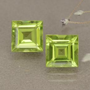 Lively Green Peridot Gem - 1.2ct Square Step-Cut (ID: 477610)