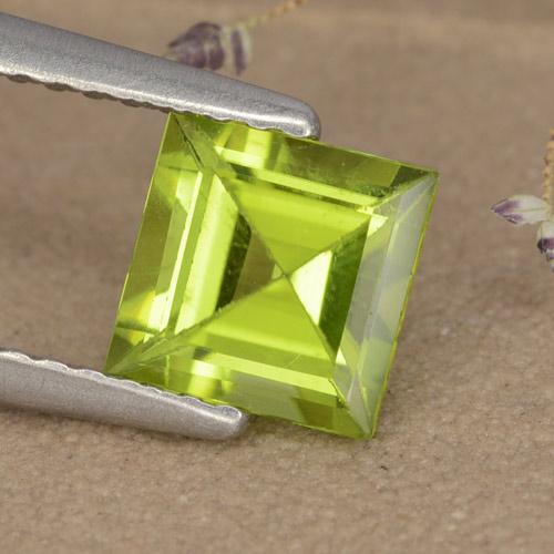 Lively Green Peridot Gem - 1.1ct Square Step-Cut (ID: 477760)