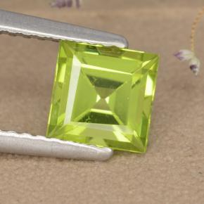 Lively Yellowish Green Peridot Gem - 1.2ct Square Step-Cut (ID: 477771)