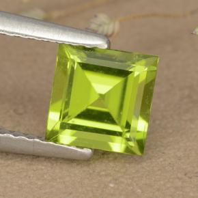Lively Yellowish Green Peridot Gem - 1.1ct Square Step-Cut (ID: 477831)
