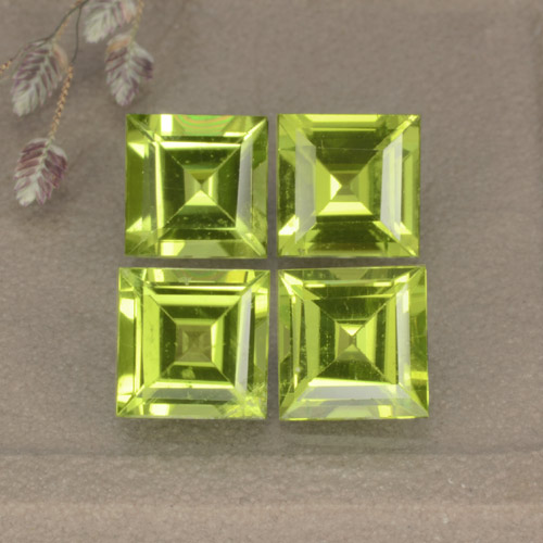 Lively Green Peridot Gem - 1.1ct Square Step-Cut (ID: 477844)