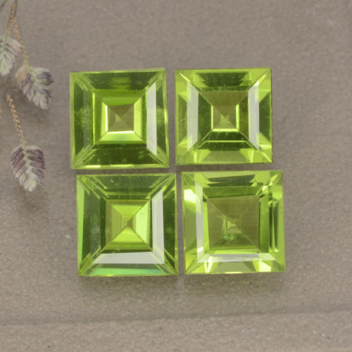 Lively Green Peridot Gem - 1ct Square Step-Cut (ID: 477846)
