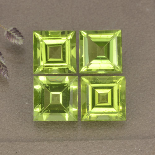 Lively Green Peridot Gem - 1.1ct Square Step-Cut (ID: 477848)