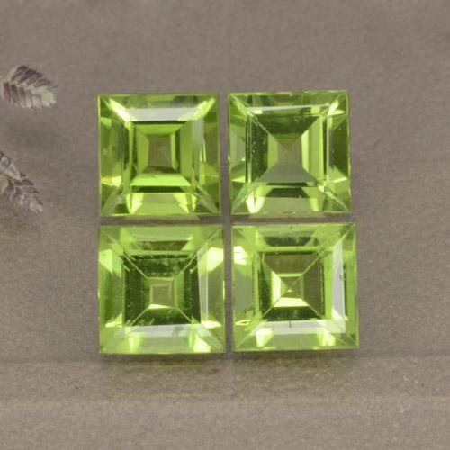 Medium Green Peridoto Gem - 1.2ct Taglio graduale quadrato (ID: 477849)
