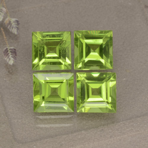 Lively Green Peridot Gem - 1.1ct Square Step-Cut (ID: 477851)