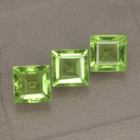 Lively Green Peridot Gem - 1.2ct Square Step-Cut (ID: 477854)