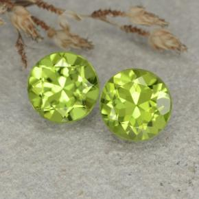 Lively Green Peridot Gem - 1.3ct Round Facet (ID: 480456)