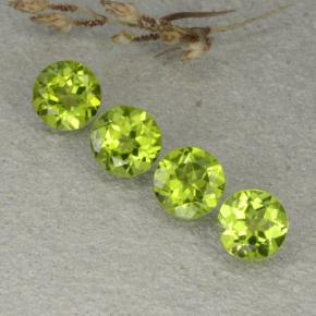 Lively Green Peridot Gem - 1.2ct Round Facet (ID: 480498)